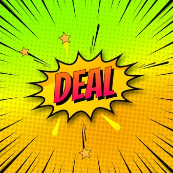 Background of deal in comic style pop art design