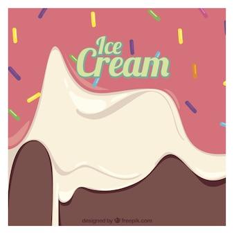 맛있는 녹은 아이스크림의 배경