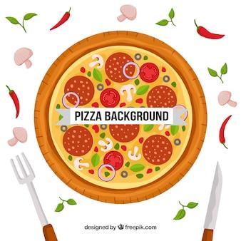 평면 디자인에 맛있는 피자의 배경