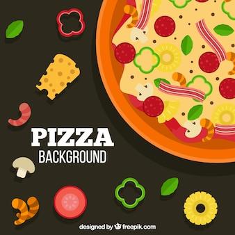 재료와 함께 맛있는 피자의 배경