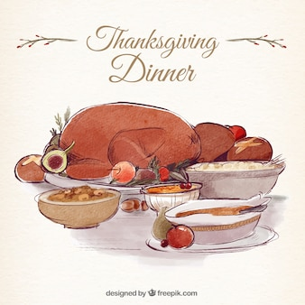 Background of delicious thanksgiving dinner with turkey in watercolor effect