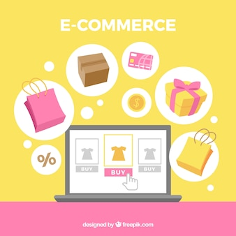 Background of e commerce elements in flat design