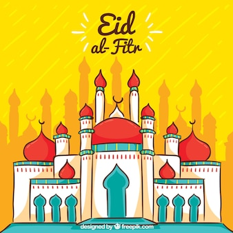 Background of eid al fitr with hand drawn mosque