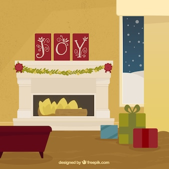 クリスマスの飾り付きのエレガントな暖炉の背景
