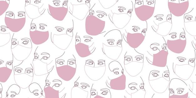 Фон женских лиц в защитных медицинских масках, нарисованных одной непрерывной линией. минималистичные абстрактные портреты красивых женщин. концепция современной моды. в розовых тонах