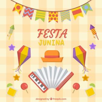 Фон festa junina с плоскими элементами
