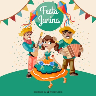 Background of festa junina with people dancing and playing