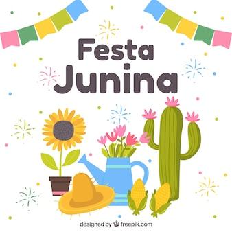 Фон festa junina с традиционными элементами