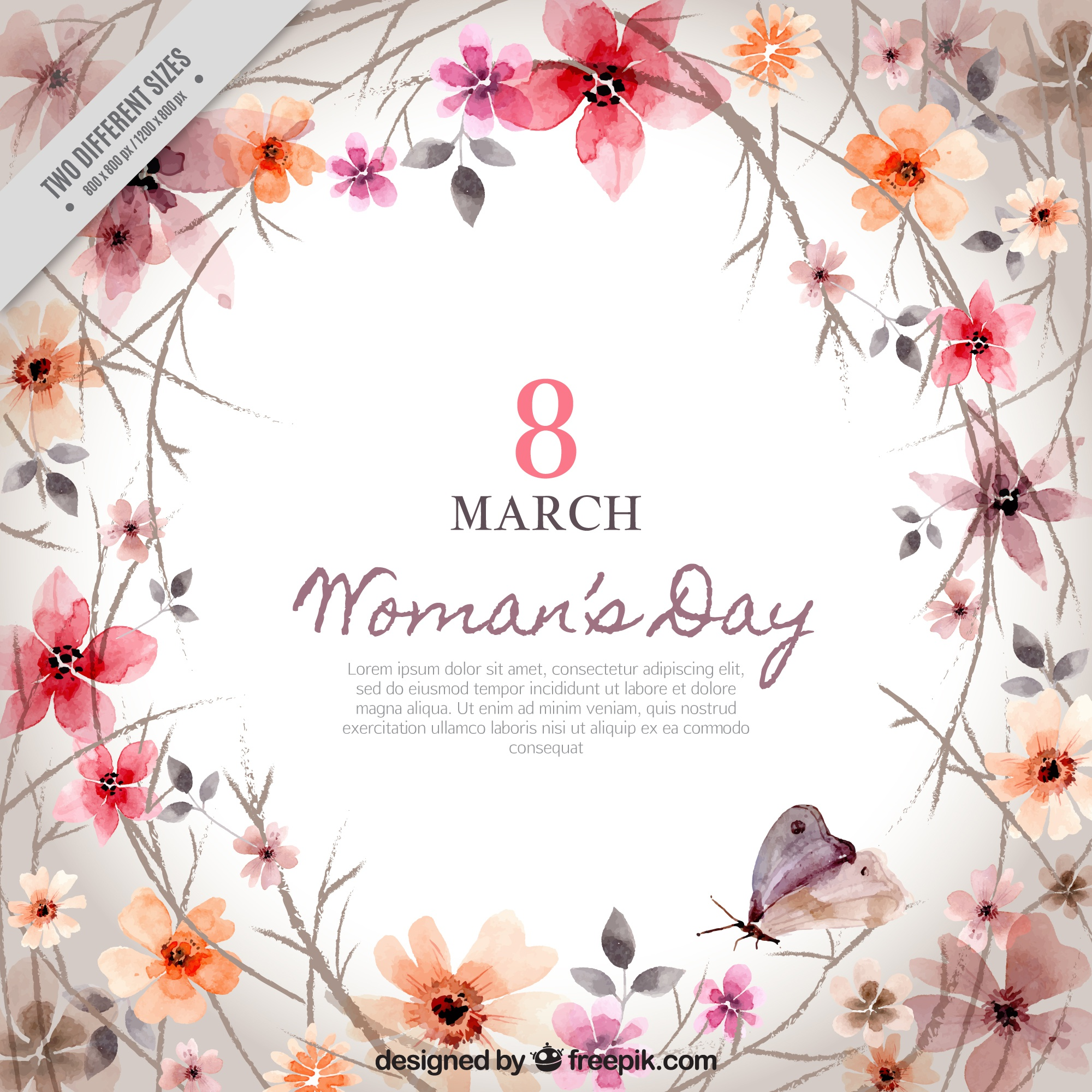 Background of floral decoration of woman's day