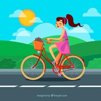 Фон девушки на хорошем велосипеде