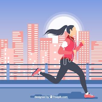 background of girl running through a modern city