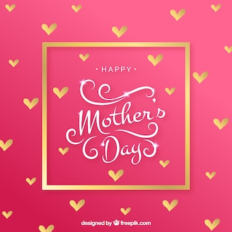 Background of golden hearts of mother's day