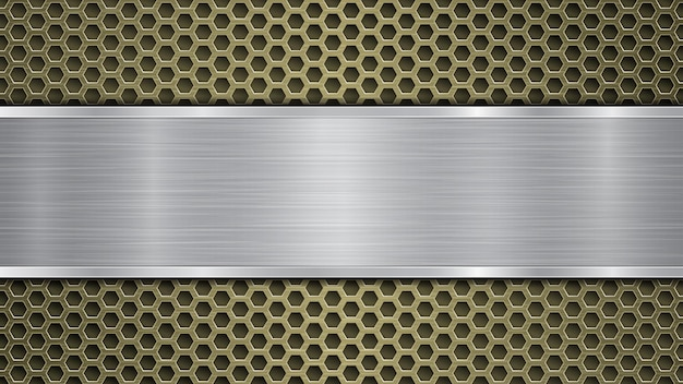 금속 질감, 눈부심 및 반짝이는 가장자리가 있는 구멍과 은색 수평 광택 플레이트가 있는 황금 천공된 금속 표면의 배경
