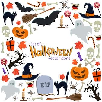 Фон значков хэллоуина с круглой рамкой. шаблон для упаковки, открыток, постеров, меню.