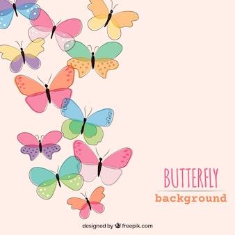 손으로 그린 나비 배경