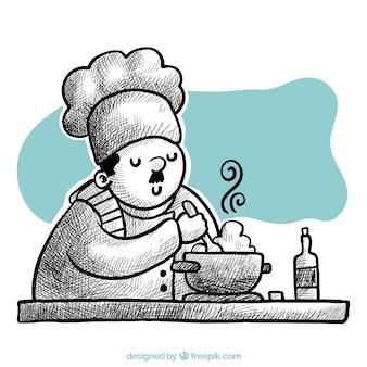 손으로 그린 요리사 요리의 배경