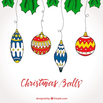 Background of hand drawn christmas balls