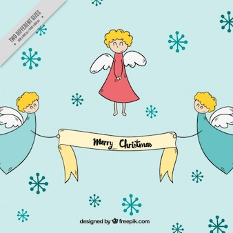 Background of hand drawn cute angels with christmas message