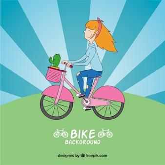 핑크 자전거에 손으로 그린 소녀의 배경
