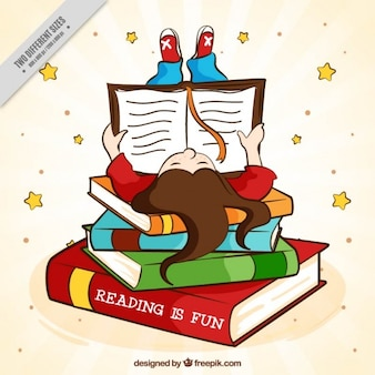 本を読んで手描きの女の子の背景