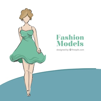 Background of hand drawn model wearing vintage dress