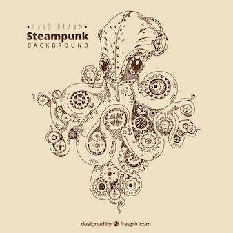 Фон рисованной осьминога с шестернями