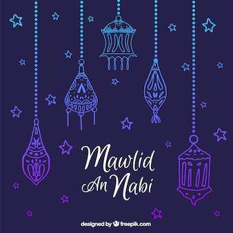 Background of hand drawn ornaments celebrating mawlid