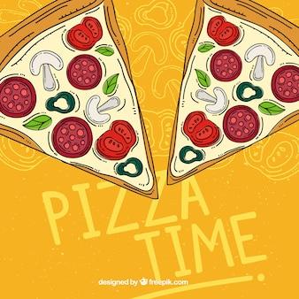 Фон рисованных частей пиццы