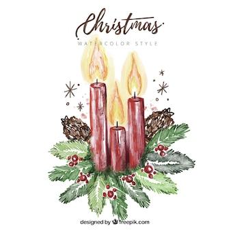 Фон из расписанных вручную рождественские свечи