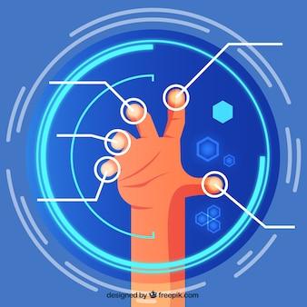 仮想画面に触れる手の背景