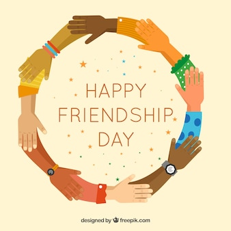 Background of hands in flat design of happy friendship