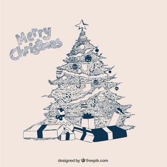木のスケッチや贈り物の幸せなクリスマスの背景