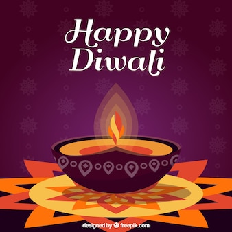 Background of happy decorative diwali with candle