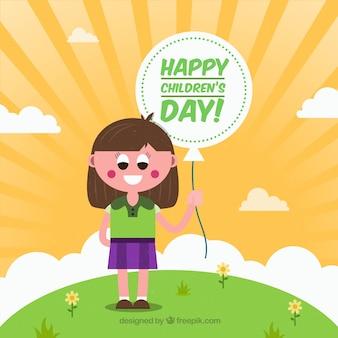 バルーン子供の日で幸せな女の子の背景