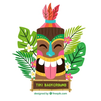Background of happy tiki mask in flat design