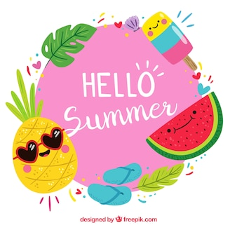 Background of hello summer with funny fruits