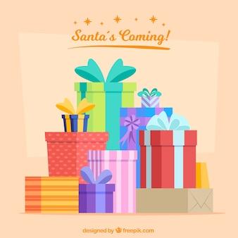 Фон праздничных подарочных коробок в плоском дизайне