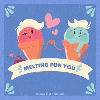 Background of ice cream couple in love