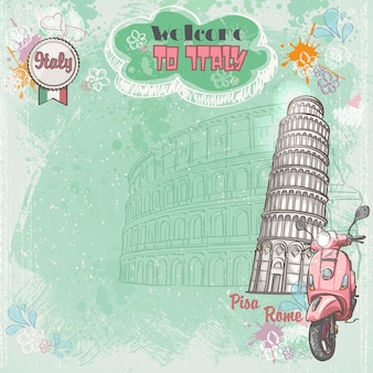 コロッセオ、ピサの斜塔、ピンクの原付をイメージしたテキストのイタリアの背景