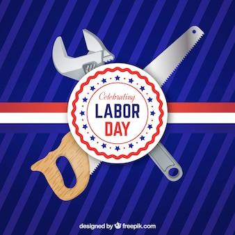 도구와 노동절 로고의 배경