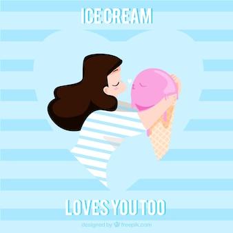 アイスクリームにキスする素敵な女の子の背景