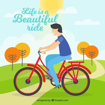 자전거를 타고 남자의 배경