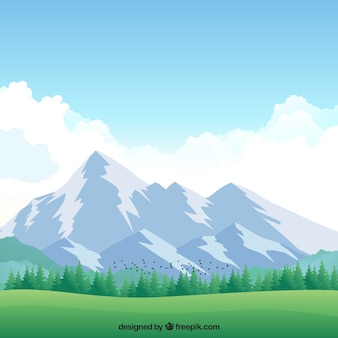 Background of meadow with snowy mountains