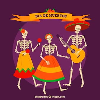 Фон мексиканских скелетов, танцующих и празднующих день мертвых
