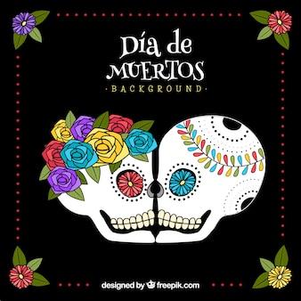 장미와 멕시코 두개골의 배경