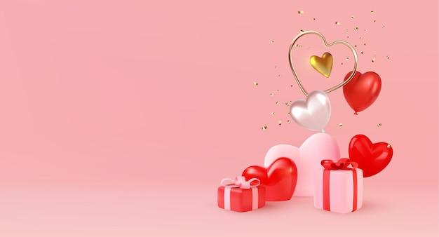 Фон из минимальных подарочных коробок и сердечек