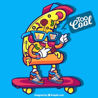 Background of modern pizza slice with skateboard