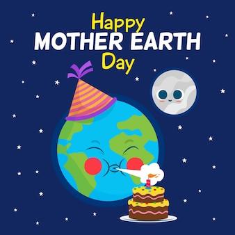 フラットなデザインで母なる地球の日の背景