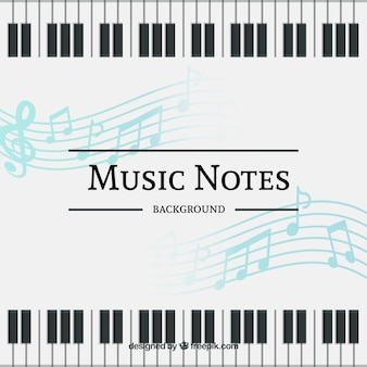 Background of musical notes and piano keyboard