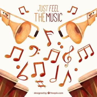 Фон из музыкальных нот и акварельные инструментов
